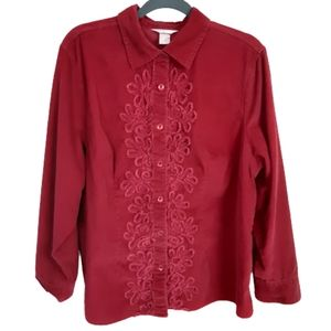 CJ Banks red corduroy floral embroiderd to…